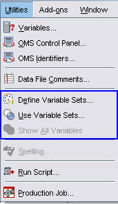 Defining and using sets of variables