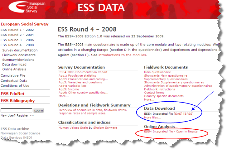Download SPSS Data from ESS