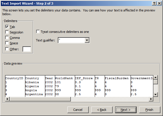 Read raw (text) data with Excel