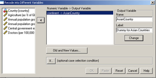 Create dummy variables