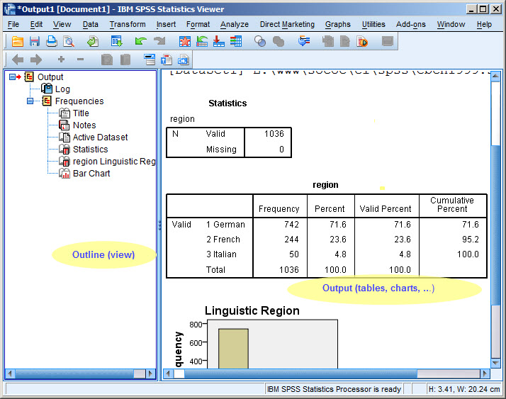 The screen shot shows the results of a Frequency command 837a1003fde