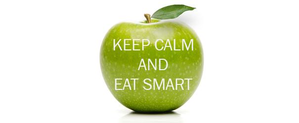 Bandeau pour la campagne sur l'alimentation et le stress 2017. Pomme verte granny avec le slogan affiché sur la pomme. Fond blanc.