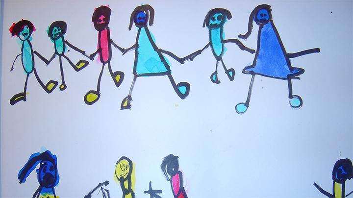 Dessin Enfants main en main