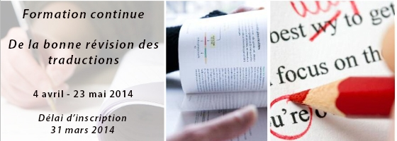 4 avril - 23 mai 2014, formation continue :