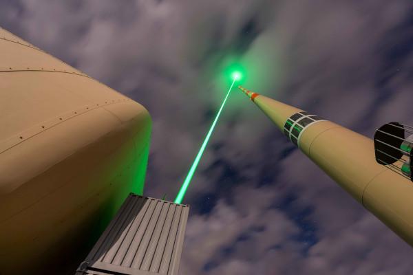 Green laser beam on top of Säntis