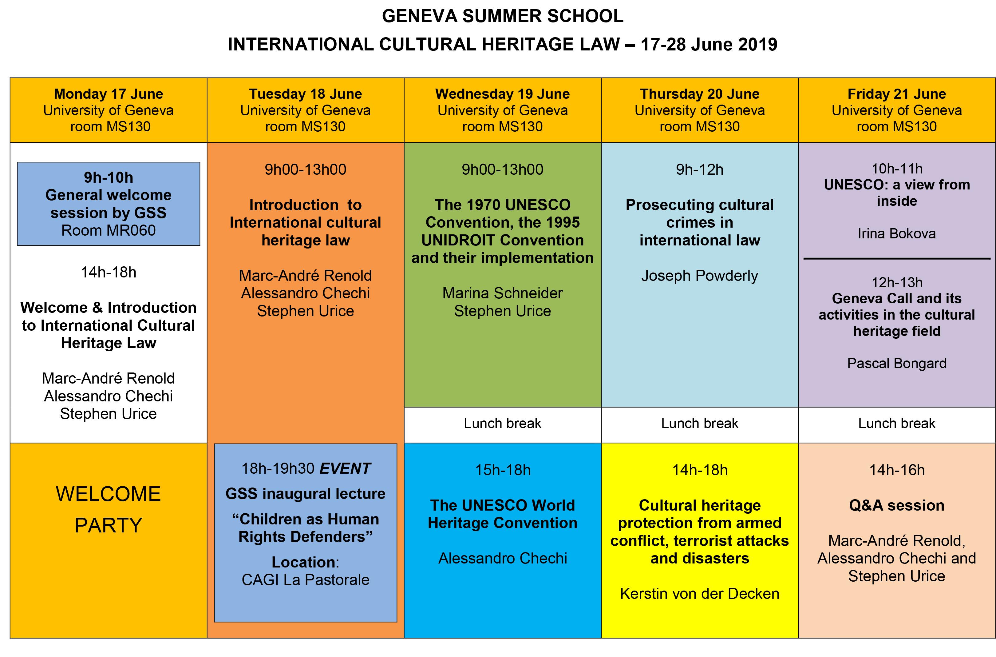 Geneva Summer Schools • International Cultural Heritage Law